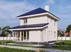 Двухэтажный жилой дом с навесом и верандой