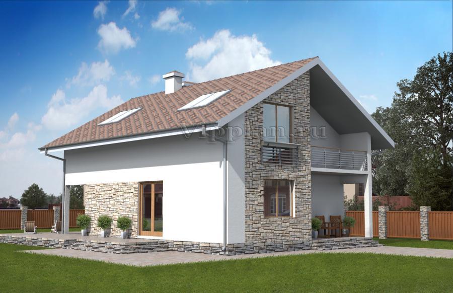 Дом с мансардой, террасой и балконом vg974 в абинске - красн.